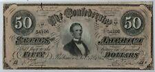 Confederate States Of America 17.2.1864 $50.00 T-66 Cr-Unl Pf-7 Cu