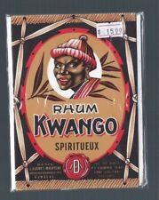 Vintage 1930's 10 ct Bottle Label Lot KWANGO RHUM SPIRITUEUX New Old Stock Rum