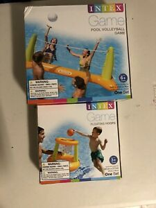 Intex Pool Inflatable Volleyball and Basketball Hoop Game