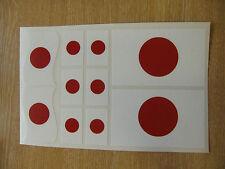 JAPANESE FLAG STICKERS SHEET SIZE 21cm x 14cm