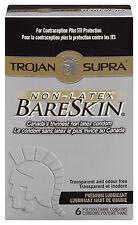 NEW TROJAN BARESKIN SUPRA ULTRA THIN CONDOMS LUBRICATED NON LATEX 6 PACK