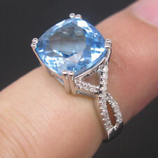 Jewelry Sets Solid 14K White Gold Natural Swiss Topaz Diamond Engagement Ring