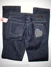 NWT Skinny Dark Jeans Juicy Couture $248 Crystals Heart 27 New Womens 28 X 32.5