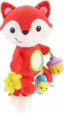 Fisher Price Activity Fox Plush Toy Baby Mirror Rattle Jingle Colourful Enjoy