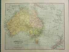 1904 ANTIQUE MAP POLITICAL AUSTRALIA & NEW ZEALAND QUEENSLAND VICTORIA TASMANIA