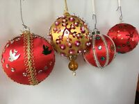 Vintage Christmas Ornament Handmade Lot Beaded Pins Sequin Red Gold Globe
