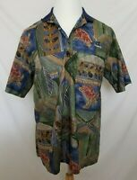 Tori Richard Mens Large Multi-Color Turtle Floral Hawaiian Camp Polo Shirt VG