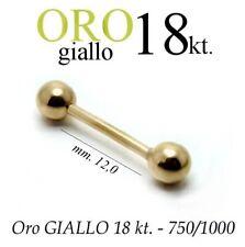 Piercing 12mm CORPO CAPEZZOLO LINGUA TRAGO ORECCHIO oro GIALLO 18kt. yellow GOLD