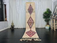 "Handmade Moroccan Boujad Runner Rug 2'2""x10'9"" White Pink Geometric Berber Rug"