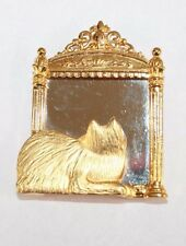 Brooch Pin - Signed JJ - Cat - Mirror - Reflection - Gold Tone