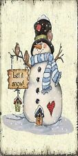 SHABBY CHIC STYLE CHRISTMAS LET IT SNOW GIFT SIGN PLAQUE
