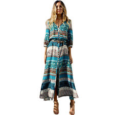 Womens Bohemian Floral Boho Long Maxi Dress Summer Cocktail Swing Skirt Sundress
