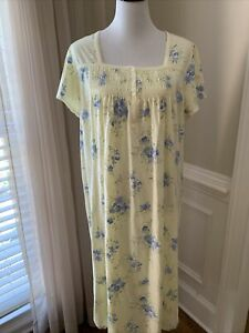 carole hochman large l nightgown 100% cotton gown smocking buttons long yellow