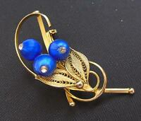 """Pretty Vintage Gold Tone Filigree Brooch Pin with Blue Silk Beads 2-1/2"""""""