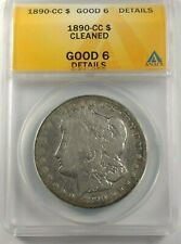 1890-CC Morgan Silver Dollar Graded by ANACS as a Good-6 Details Cleaned