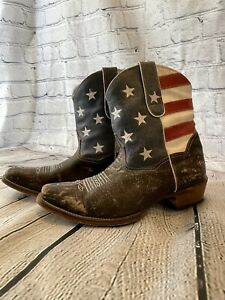 Roper Western Women's Ankle Boots Size 9 Square  American Flag Distressed