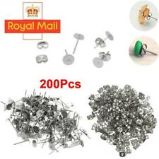 200PCS 4/6/8mm Earring Stud Posts Pads and backs Hypoallergenic Surgical Steel D