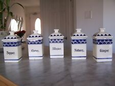 Vintage Antique White Blue Ceramic Spice Canisters (Set of 5) made in Germany
