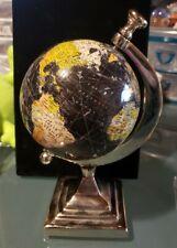 Chrome Globe World Map Black Ocean Earth Rotating School Home Office Decor