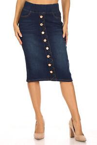 Women's Juniors/Plus Size Elastic Waist Pull-On Stretch Denim Skirt