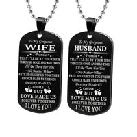 EG_ HOT Letter Husband Wife Girlfriend Boyfriend Tag Pendant Necklace Keychain L