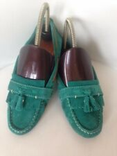 WOMENS MASSIMO DUTTI GREEN SUEDE TASSELS LOAFERS FLATS SHOES  UK 4 DRIVING SHOES