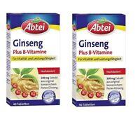 2xPack ABTEI Ginseng Plus B + C Vitamins Tablets 28g 80 Tablets  *GERMANY*