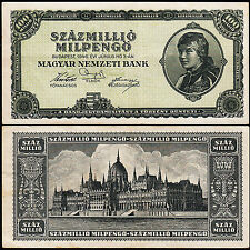 HUNGARY SZAZMILLIO - 100 MILLION - 100.000.000 - MILPENGO 1946 aXF P 130