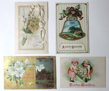 Lot of 4 Antique Early 20th Century Postmarked 1909-29 Easter Holiday Postcards