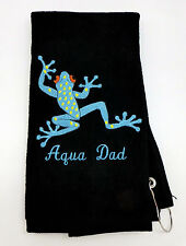 Personalized Embroidered Golf/Bowling Towel Aqua Frog