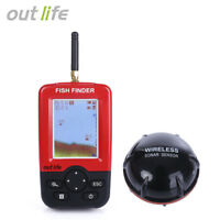 US Seller!! Outlife Portable Fish Finder with Wireless Sonar Sensor LCD Display