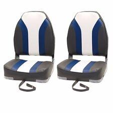 Classic Charcoal Blue White Boat Folding Fishing Seating Seats 75107CBW (Pair)