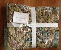 Pottery Barn Set 2 Neena Quilt Euro Shams Floral Patchwork Floral Pair