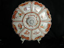 Unusual TT Takito Japan divided relish tray with center handle knob hand painted