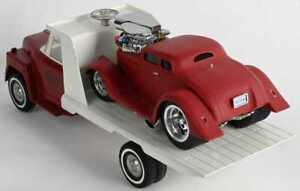 vintage 1900's ERTL flatbed tow hook truck.. w/red muscle machine drag race car!