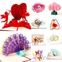 3D Greeting Card Pop Up Paper Cut Happy Birthday Wedding Valentine's Day Card