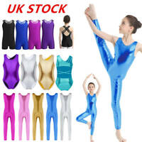 UK Girls Shiny Gymnastics Leotard Sports Ballet Dance Unitards Bodysuit Costumes