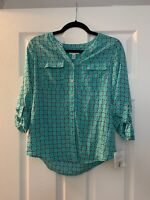 Croft and Barrow Petite Women's Button Up Teal And Black MSRP $40