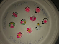 3D Bumblebees & Flowers Lot Of 10 Croc Shoe,Bracelet,Lace Adapter Charms,Jibbitz