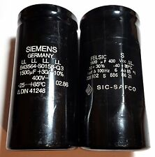 Siemens, Sic-Safco 400V 1500uF Ieff = 6A Large Can Electrolytic Capacitor Screw