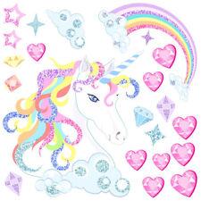 Unicorn Love Hearts Stars Rainbows Clouds Wall Art Stickers Kids Bedroom Decals