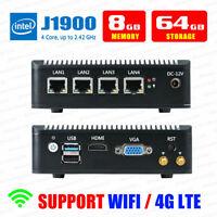 Fanless Mini PC Intel J1900 4 LAN Port 8G RAM/64G SSD Fanless pfSense Firewall