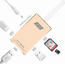 "E2E Gold USB 3.1 Type-C to HDMI USB 3.0 SD Card Hub for Macbook 12"" A1534"