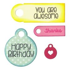 Sizzix Framelits Die Set with Stamps - Tags & Words, Happy Birthday, Thanks