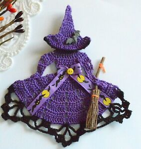 Crinoline Lady Witch Hand Crochet Doily / Purple & Black / Halloween