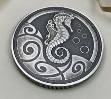 Low Mintage 10,000 - 1oz .999 Fine Silver Seahorse Mint Antiqued