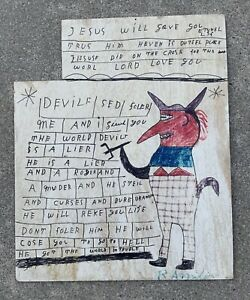 Rare RA Miller Original Signed Folk Outsider Art Early Large Painting On Board