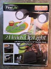 "FineLife 2 Heads Clip Light 6 Led with Pivoting-heads and 15"" Flexible Neck New"