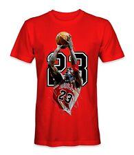 Michael Jordan 23 Basketball Legend Shooting Short Sleeve Red T-Shirt, S-5Xl