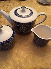 3pc.Grace's Teaware,Cobalt Blue & Silver Tea Pot, Sugar Bowl and Creamer-New.